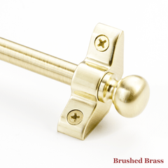 Stair rod with round finial - brushed brass