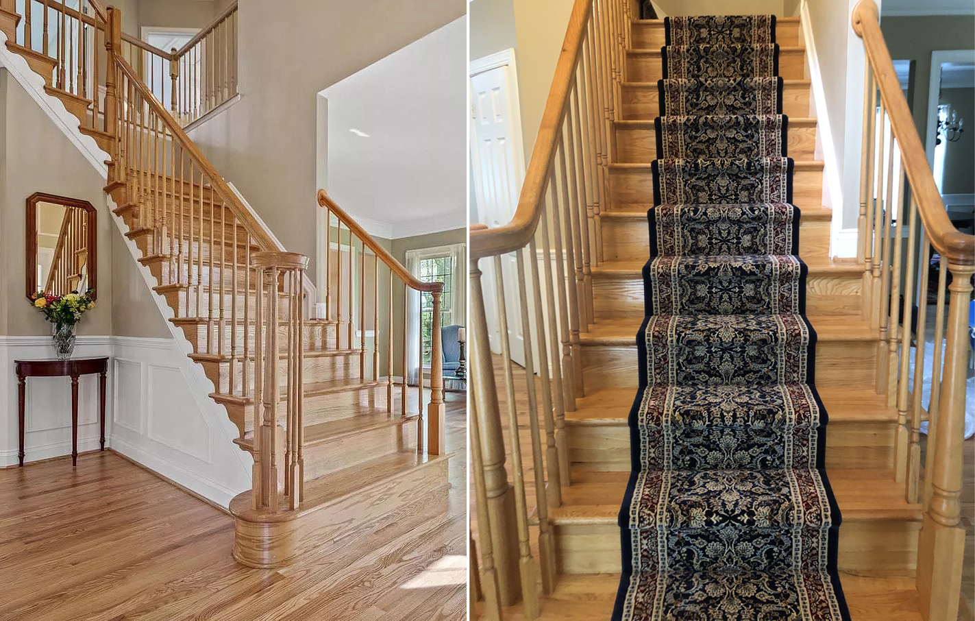 Stair runner installation in Brookeville Maryland