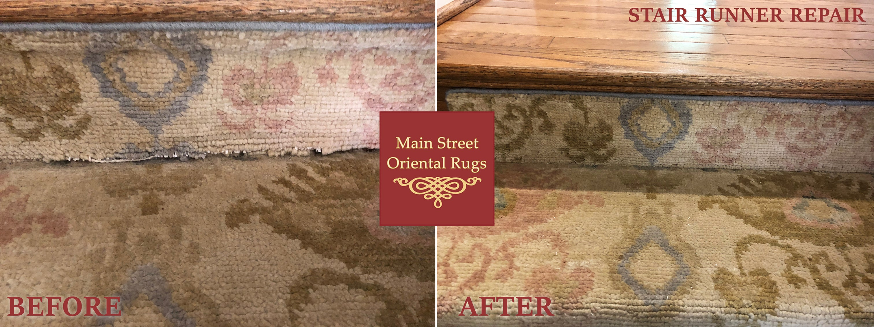 Stair Runner Repair Before & After