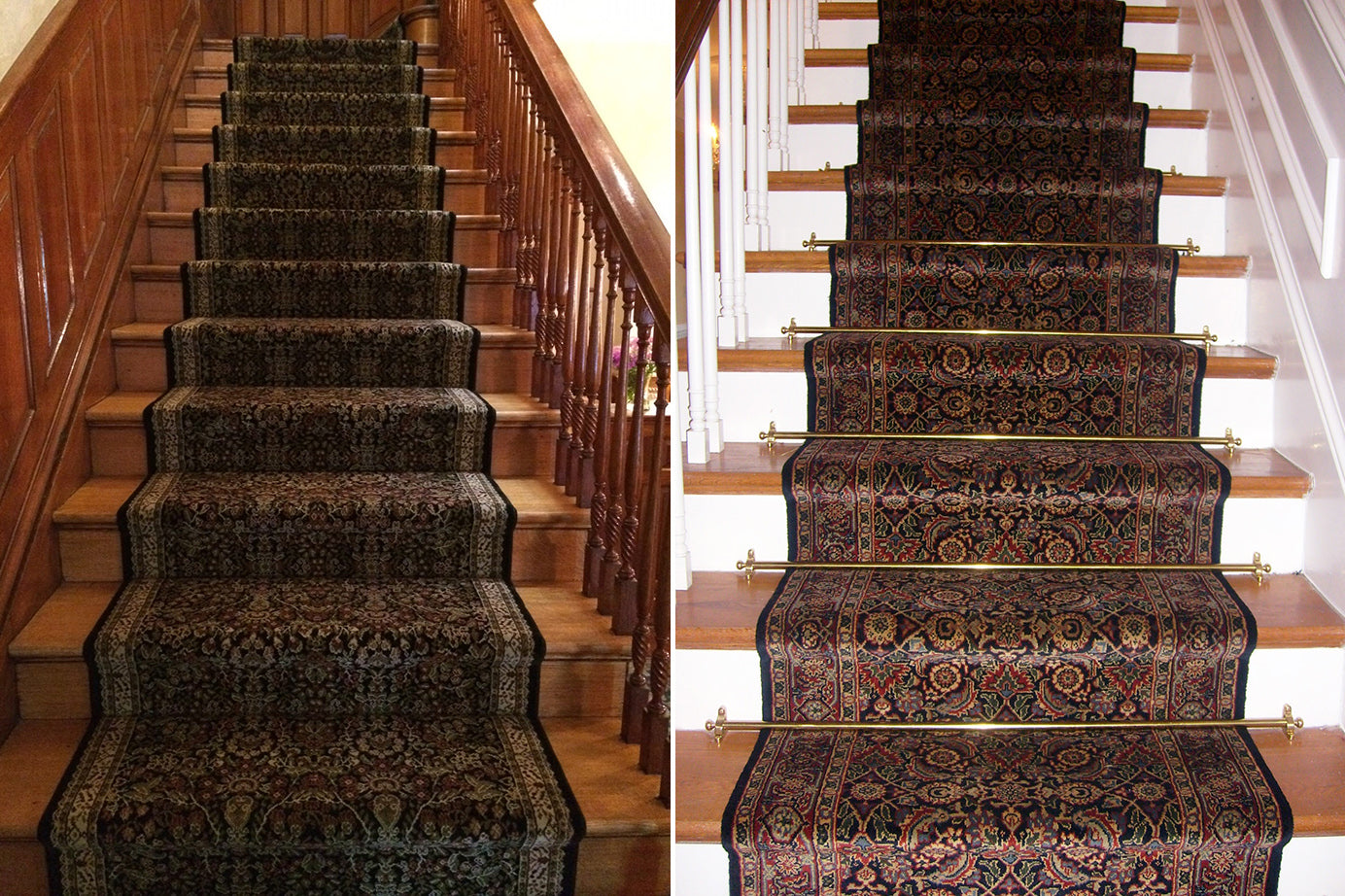 Stair runners with and without stair rods
