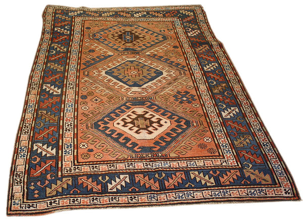 4.4x6.2 Antique Kazak Shirvan - Main Street Oriental Rugs - 1