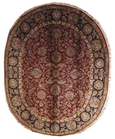 8.2x10 Indo-Persian Agra - Oval Rug