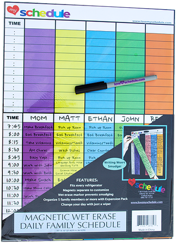 Love My Schedule - Magnetic Wet Erase Charts