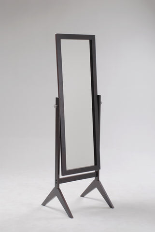 "espresso finish rectangular cheval mirror 18.5"" wide, 58.5"" high"