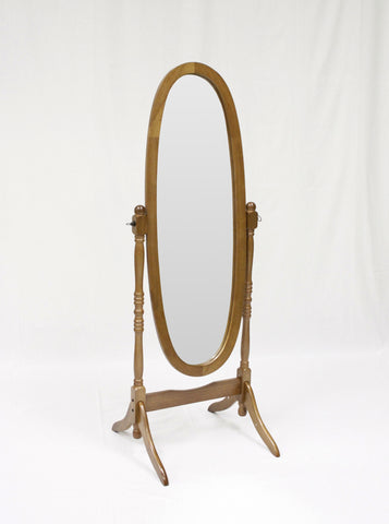 "Oak finish oval cheval mirror 23.25"" wide, 59.5"" high"