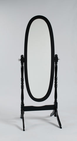 "Black finish oval cheval mirror 23.25"" wide x 59.5"" high"