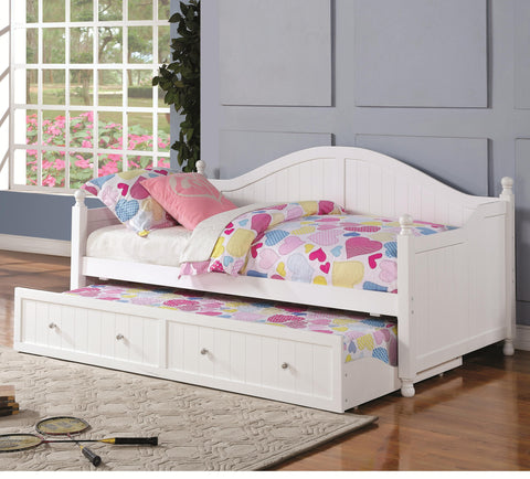 Daybed W/Trundle - White with Crystal Knobs