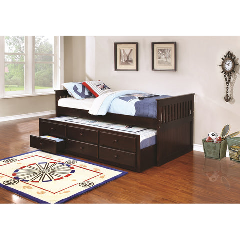 Cappuccino Daybed With Trundle & Storage