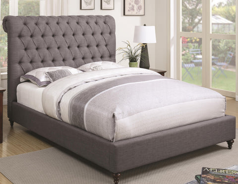Devon Upholstered Bed - Gray