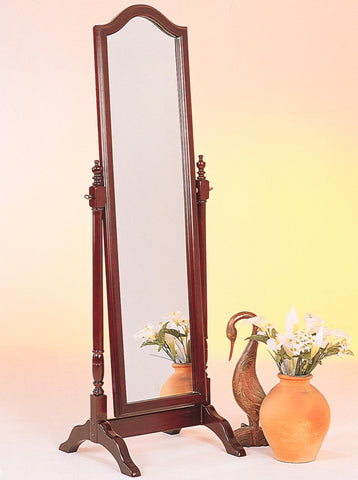"Brown Red Rectangular Mirror on wood base 23"" wide, 59"" high"