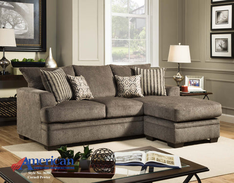 Cornell Pewter Sofa With Chaise