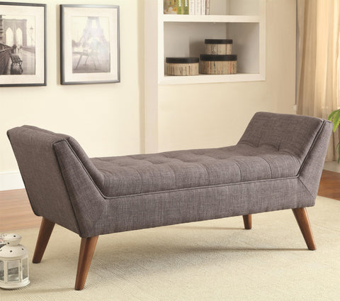 Mid-Century Modern Upholstered Accent Bench-Beige