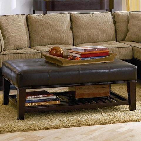 Contemporary Tufted Ottoman with Storage Shelf