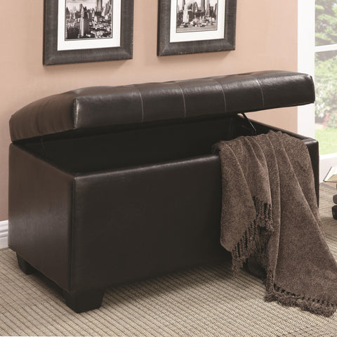 Button-Tufted Storage Ottoman