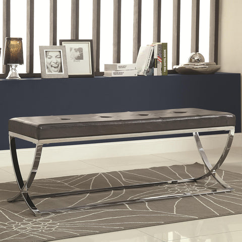 Faux Leather Bench With Silver Metal Base