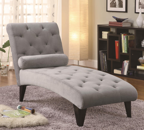 Velour Tufted Chaise-Gray