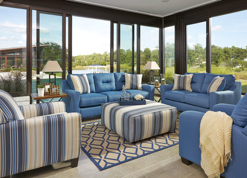 Forsan Nuvella Blue Sofa Loveseat Set Austin S Furniture Outlet