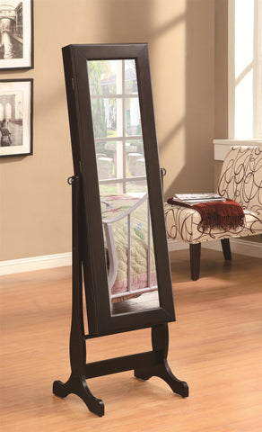 "Cappuccino cheval mirror with jewelry armoire 18.5""wide, 60""high"