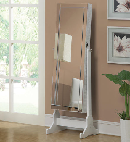 "white finish cheval mirror with jewelry armoire 20"" wide, 57"" high"