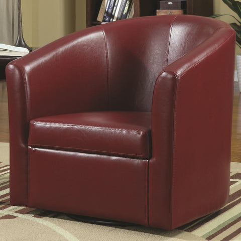 Contemporary Styled Accent Swivel Chair in Red Vinyl Upholstery