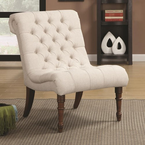 Merveilleux Tufted Accent Chair Without Arms White
