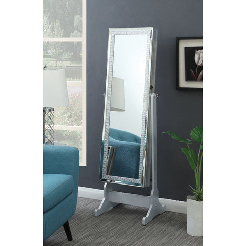 "crystal framed silver finish cheval mirror 20"" wide, 57"" high"
