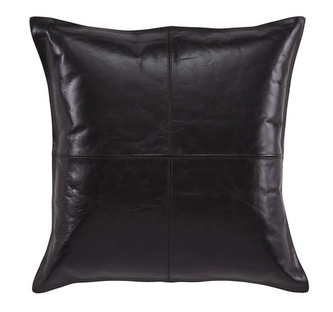 Brennen Black Leather Accent Pillow