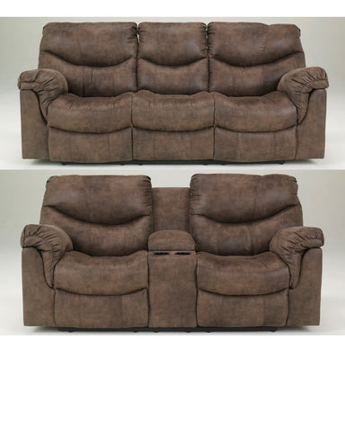 Alzena Gunsmoke Reclining Sofa & Loveseat Set