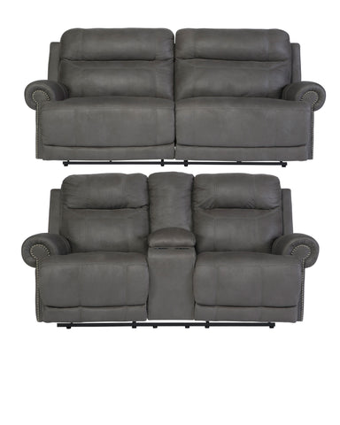 Austere Gray Reclining Set - With Or Without Power