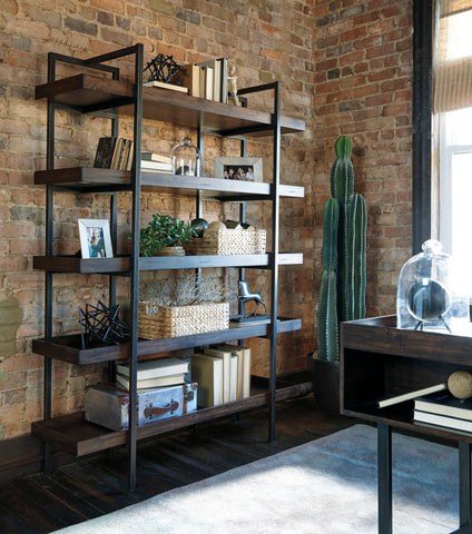 "Urban rustic bookshelf with 5 large shelves and open back. 58"" Long, 76"" high"