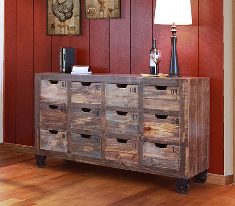 Industrial Look Multi Drawer Console