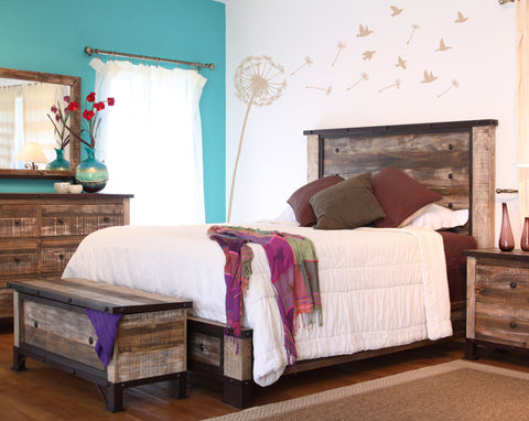 Antique Multi Color Queen Bed