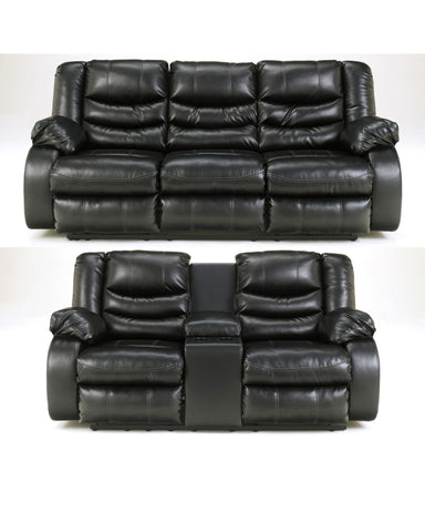 Linebacker Black Reclining Sofa & Loveseat Set