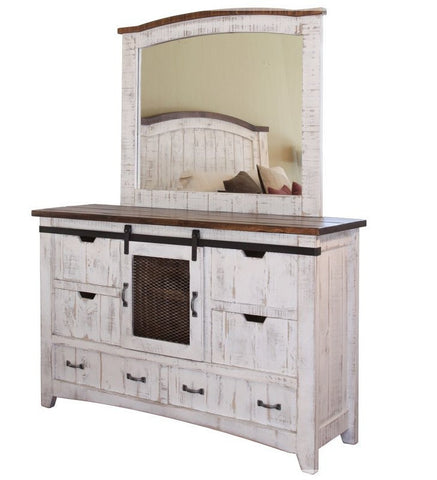 "Rustic White Dresser 61 1/2""Long,18""D, 38 1/2""H, options, with or without mirror"