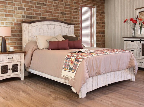 Pueblo White King Rustic Bed requires box foundation, accomodates adjustable mattress.