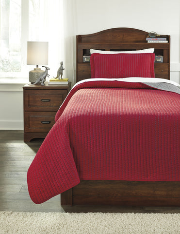 Dansby Red/Gray Twin or Full Coverlet
