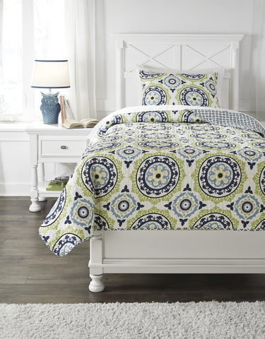 Danesha Blue/Green Twin or Full Coverlet Set