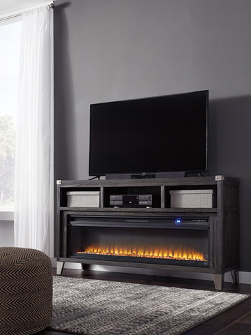 Todoe Gray Fireplace TV Stand