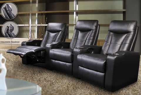 Pavillion Contemporary Black Leather Theater Seating #600130-3