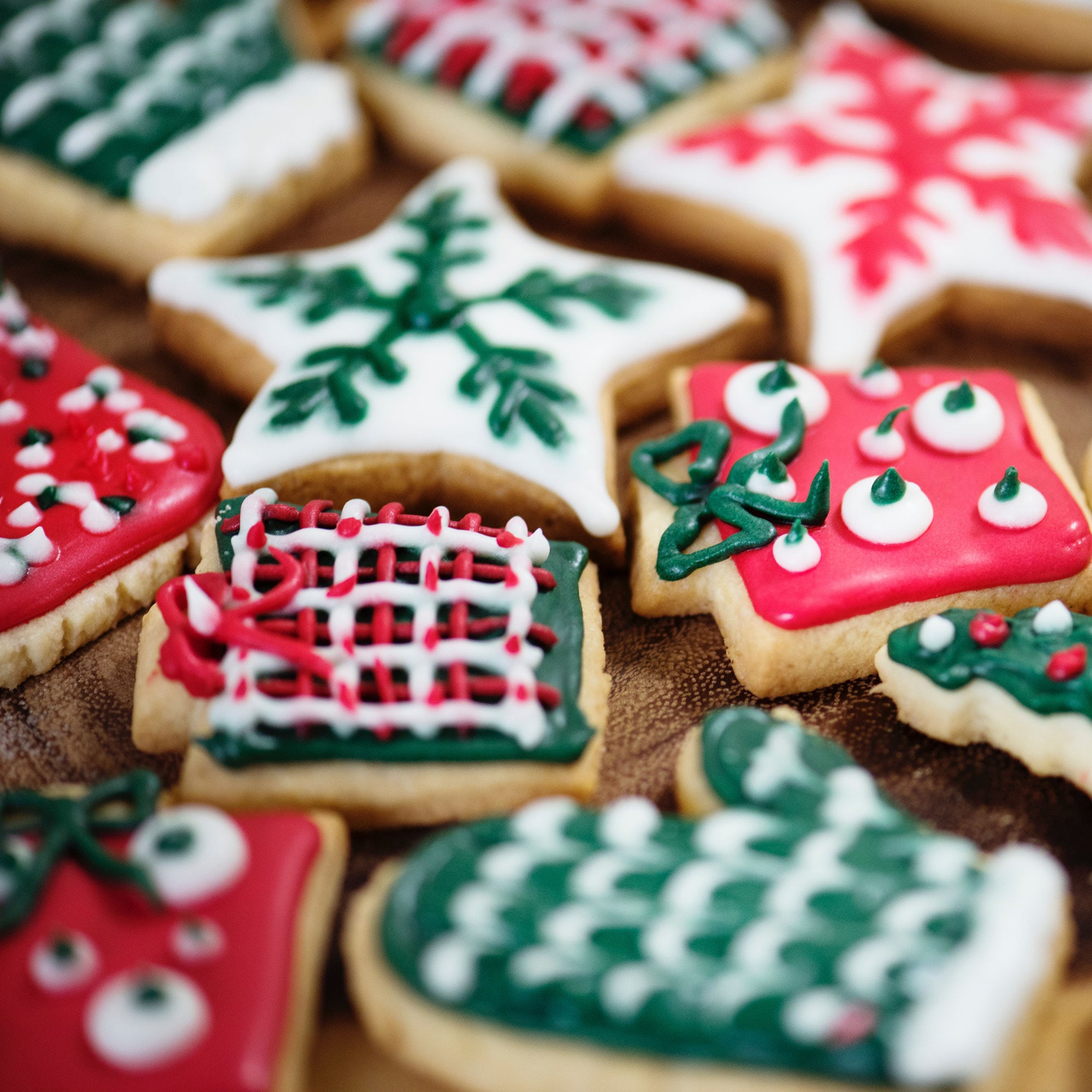 assortment of holiday decorated cookies