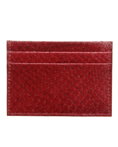 Ruby Red - Exotic Leather Card Holder, Salmon