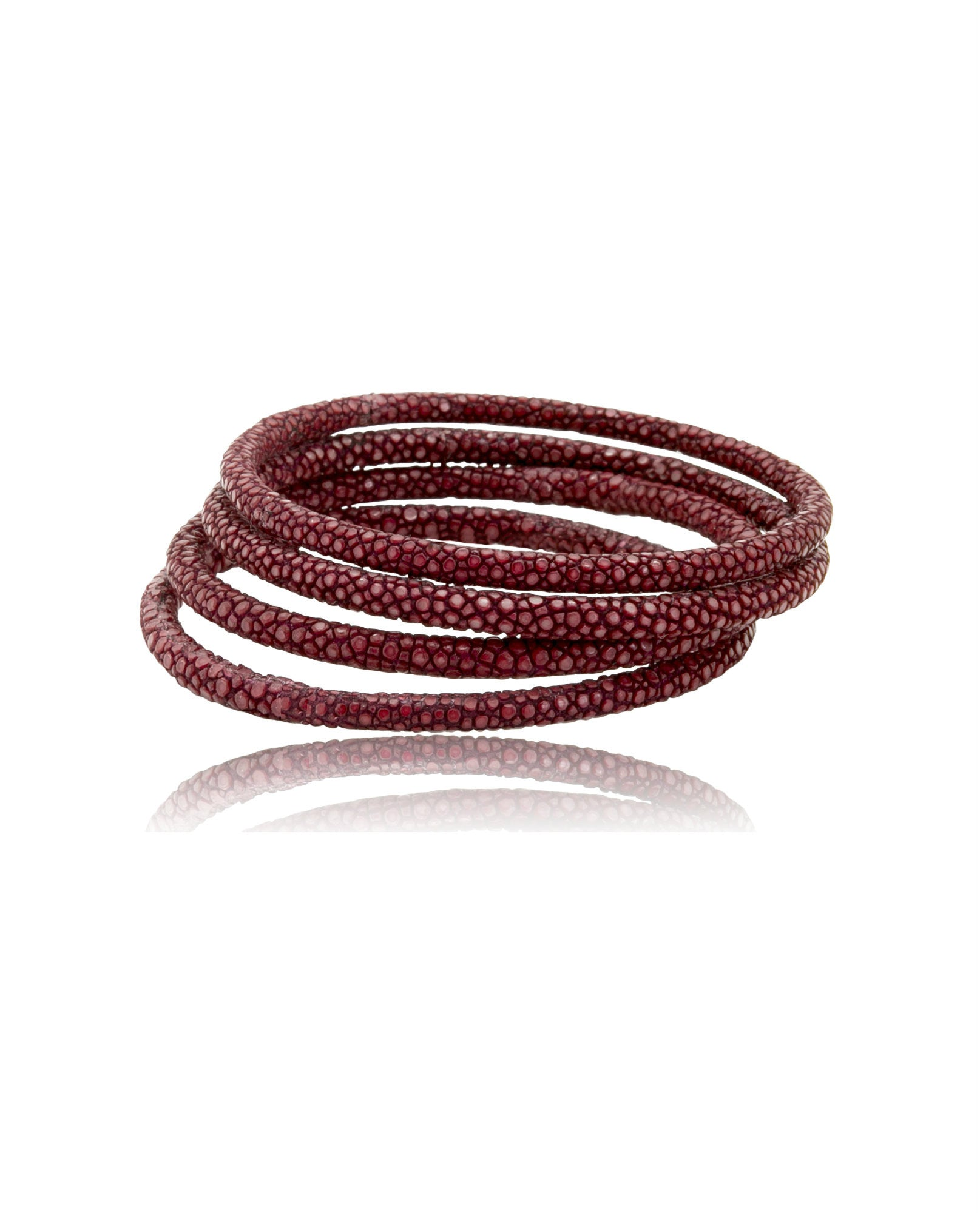 Elan Bijoux - Bordeaux Galuchat Stack Bangle Set - The Velvet Closet