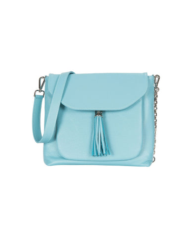 Poppy Bluebell Leather Handbag