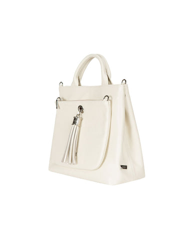 Dahlia Off White Leather Tote Handbag