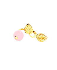 Meriko London - EXCLUSIVE-Rose Quartz & Gold 2 Finger Ring - The Velvet Closet - 3