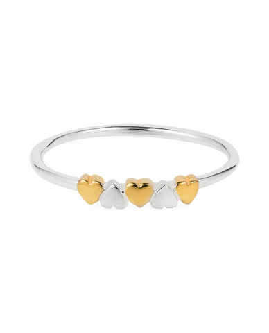 Tiny Hearts ring – silver & gold vermeil