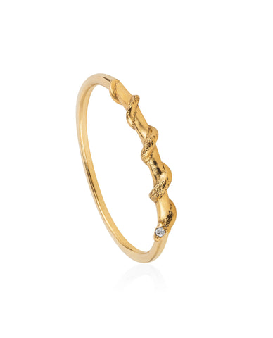 Tiny snake ring – Diamonds & Gold vermeil
