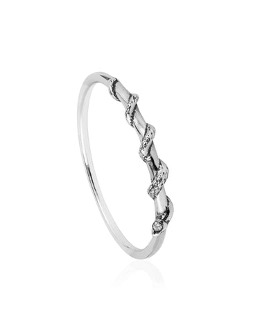 Tiny snake ring – Diamonds & silver