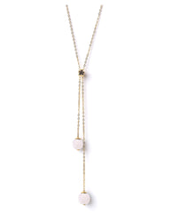 Meriko London - Rose Quartz long lariat necklace - The Velvet Closet - 1