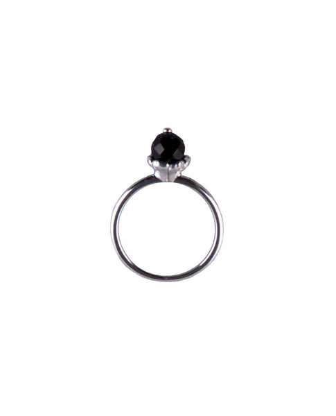 Silver Flower Stack Ring & Black Agate